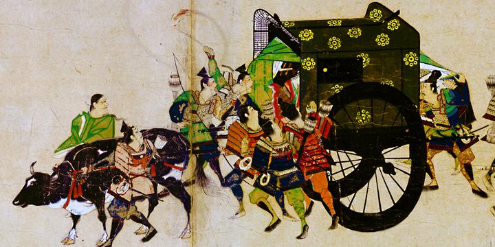 平安時代を描いた絵巻物に登場する輿車に有職文様が描かれている。このように古来より様々な種類の有職文様が、華やかな貴族生活に用いられてきた。