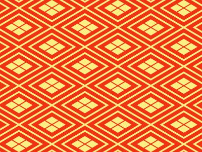 有職文様の一種「菱」。襷上に、二方向の平行線が交わって出来た幾何学文様で、世界各地で見られるもの。日本でも縄文式土器に描かれていたことが確認されている。