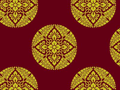 有職文様の一種「八つ藤の丸」。この八つ藤の丸は、浮織にした綾織物に用いられた大型の円文のうちの一種として重用された。