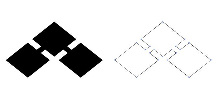 家紋・千切り菱。基本形である千切り紋を菱形にひしゃげさせたもの。