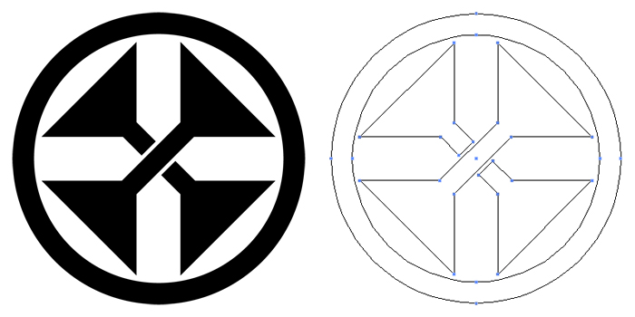 家紋・中輪に変わり違い千切り。変わりすぎて何の家紋かわからない。