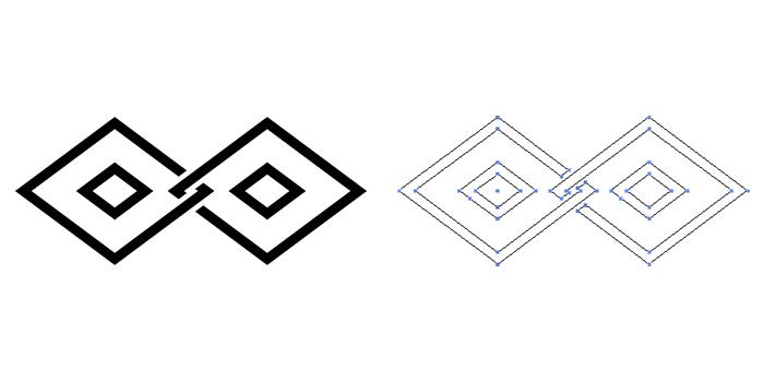 家紋・陰違い釘抜き菱。釘抜き菱を陰紋として、横に繋いだもの。