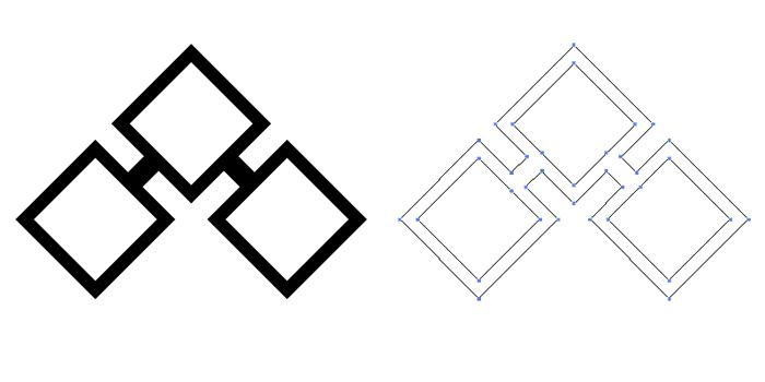 家紋・陰の千切り。基本の千切り紋を陰紋としたもの。