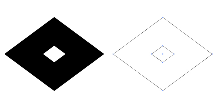 家紋・釘抜き菱。基本となる釘抜紋を菱形にひしゃげさせたもの。