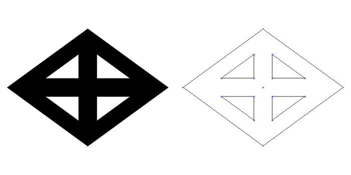 家紋・轡菱。轡紋を菱形にしたもの。