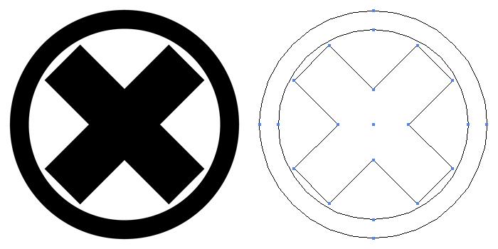 家紋・丸に違い木。直違をモチーフにした家紋を丸で囲ったもの。