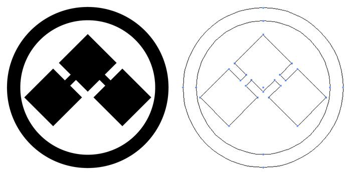 家紋・丸に千切り。基本形である千切り紋を丸で囲ったもの。