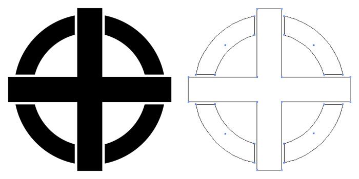 家紋・丸に出轡。十字が丸から突き出したデザイン。