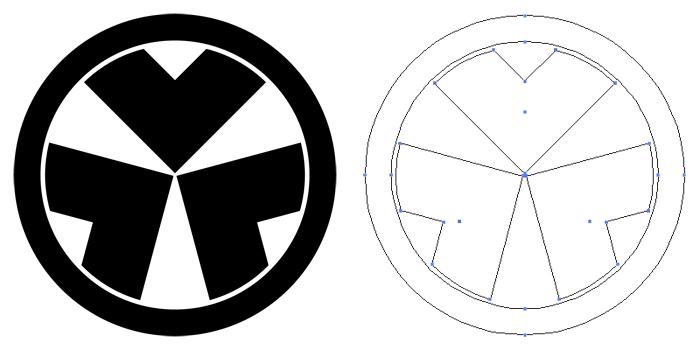 家紋・丸に三つ割り釘抜き。釘抜紋を三つに割り付けて円でマスクを掛けたもの。