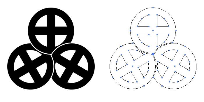 家紋・三つ捻じ轡。鏡板である十文字轡三つを捻って配置したもの。