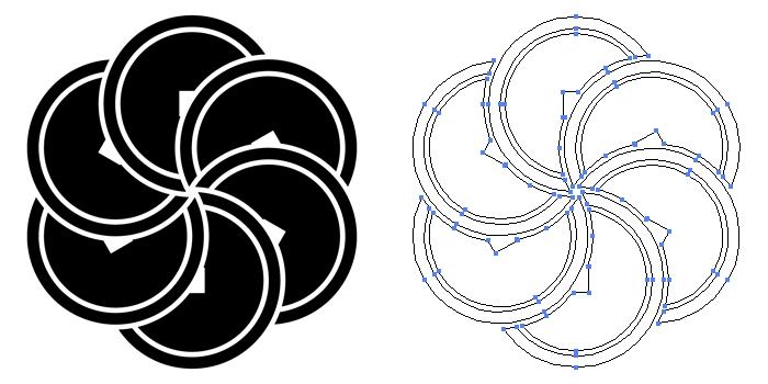 家紋・六つ捻じ銭。銭を六つに捻ったデザイン。