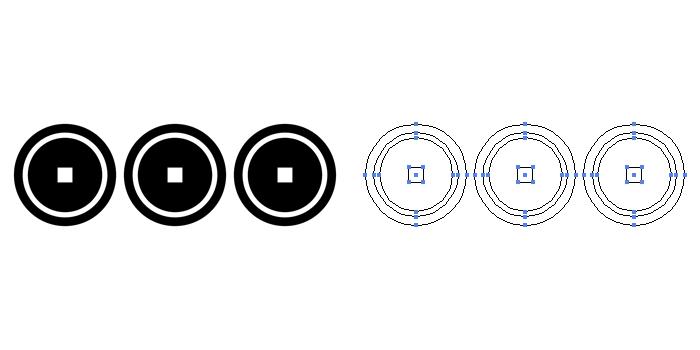 家紋・三文銭。銭紋を横に三つ並べたもの。