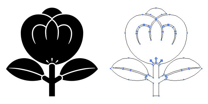 家紋・一つ茶の実のプレビュー画像とパス画像