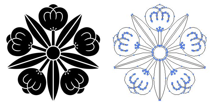 家紋・五つ竜胆茶の実のプレビュー画像とパス画像