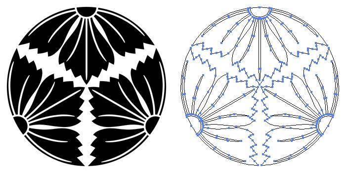 家紋・三つ割り撫子のプレビュー画像とパス画像