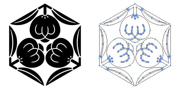 家紋・六角三つ茶の実のプレビュー画像とパス画像