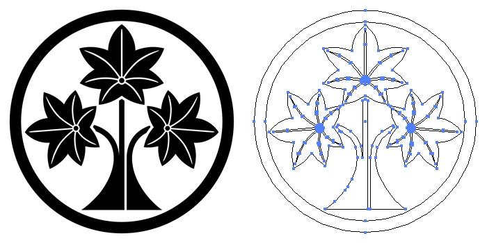 家紋・中輪に立ち楓のプレビュー画像とパス画像