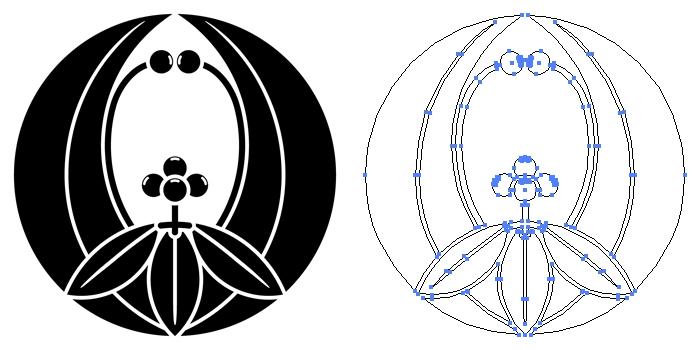 家紋・浮線南天のプレビュー画像とパス画像