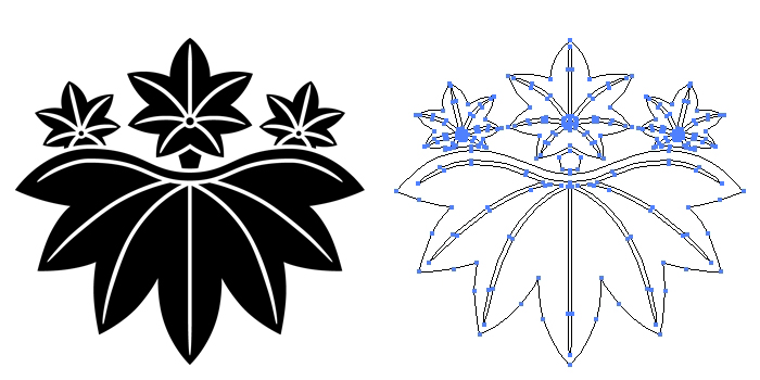 家紋・楓桐のプレビュー画像とパス画像