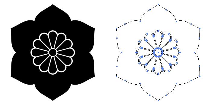 家紋・菊座花鉄線のプレビュー画像とパス画像
