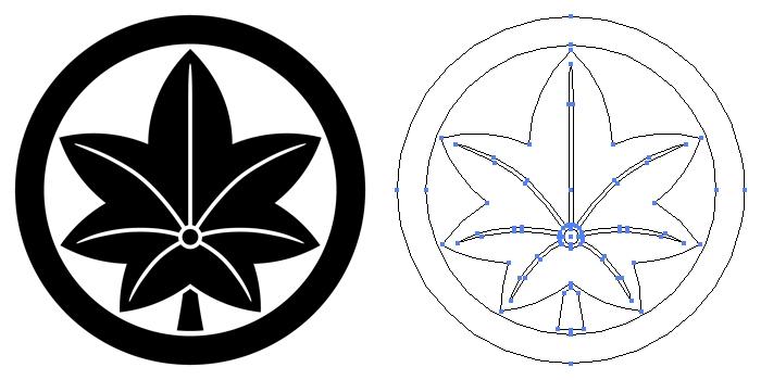 家紋・丸に楓のプレビュー画像とパス画像