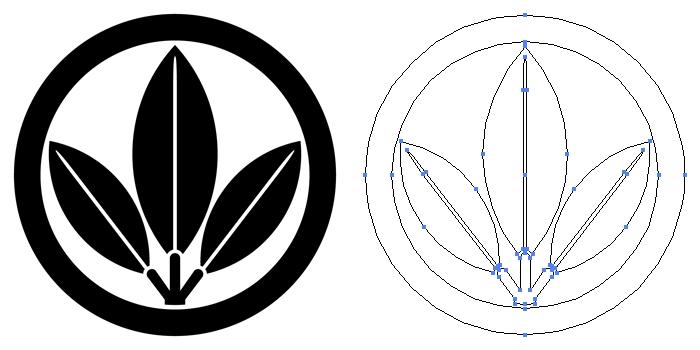 家紋・丸に三つ葉南天のプレビュー画像とパス画像