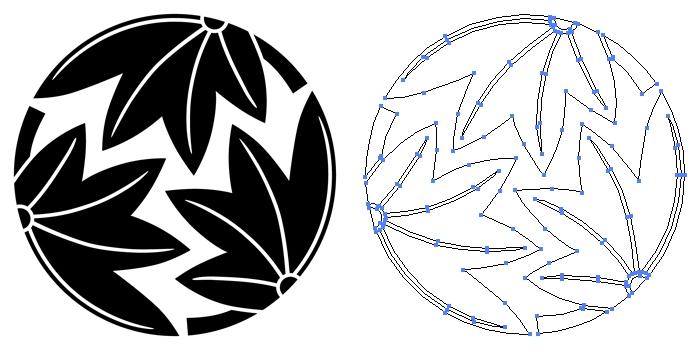 家紋・三つ割り楓のプレビュー画像とパス画像