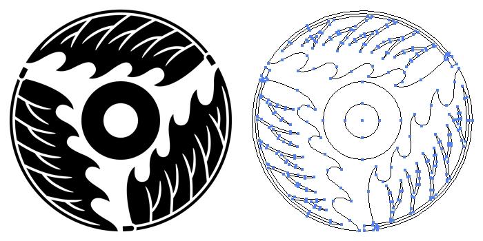家紋・三つ割り柊に蛇の目のプレビュー画像とパス画像