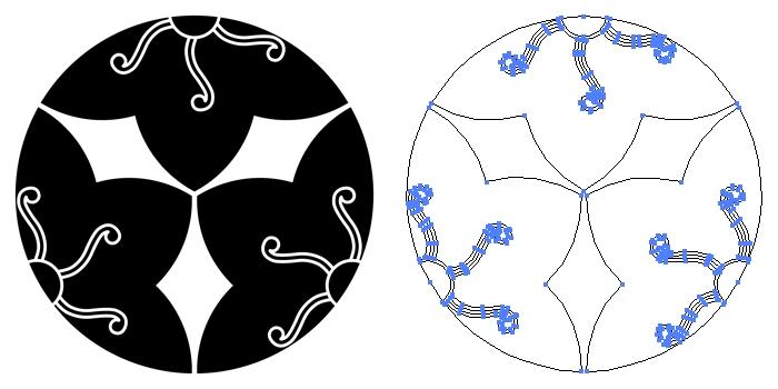 家紋・三つ割り鉄線のプレビュー画像とパス画像