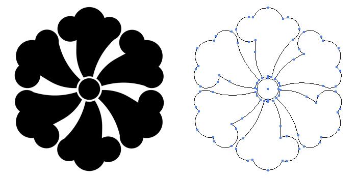家紋・六つ鉄線のプレビュー画像とパス画像