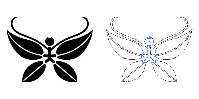 家紋・南天胡蝶のプレビュー画像とパス画像