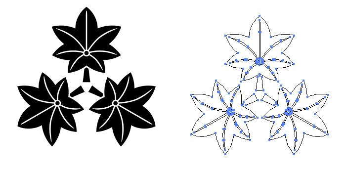 家紋・尻合わせ三つ楓のプレビュー画像とパス画像