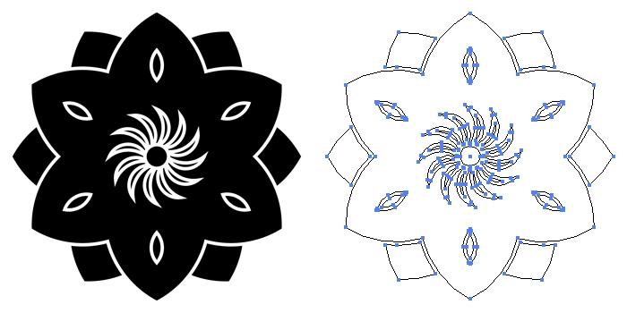 家紋・八重鉄線のプレビュー画像とパス画像
