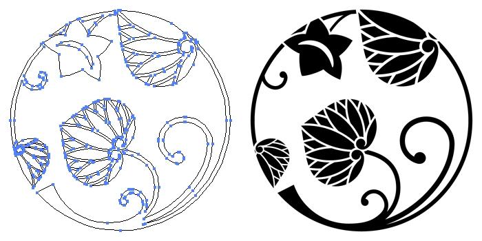 家紋・葵の丸のプレビュー画像とパス画像