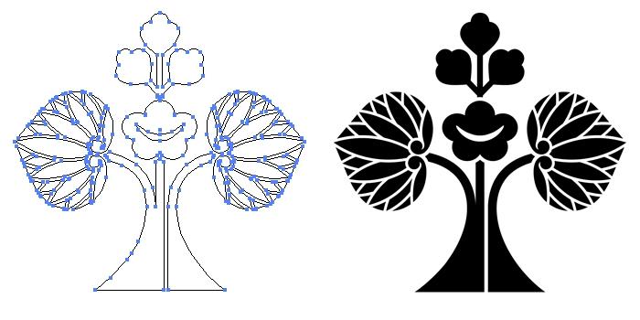 家紋・花立ち葵のプレビュー画像とパス画像