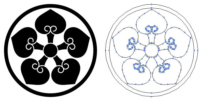 家紋・細輪に五つ裏葵のプレビュー画像とパス画像