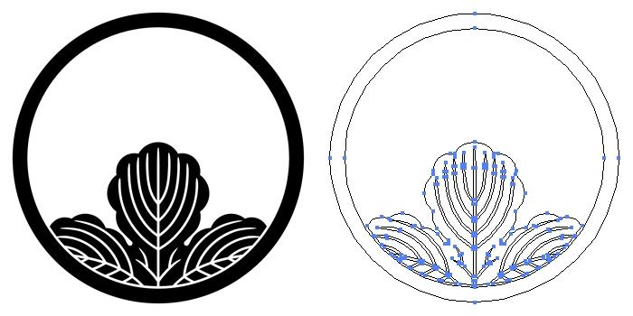 家紋・細輪に覗き梶の葉のプレビュー画像とパス画像