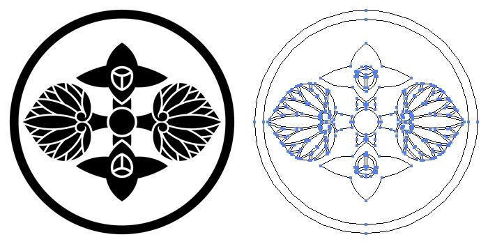 家紋・糸輪に花葵菱のプレビュー画像とパス画像