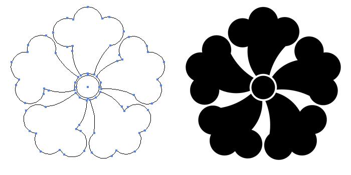家紋・五つ鉄線のプレビュー画像とパス画像