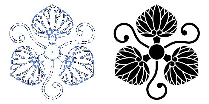 家紋・片手蔓に三つ葵のプレビュー画像とパス画像