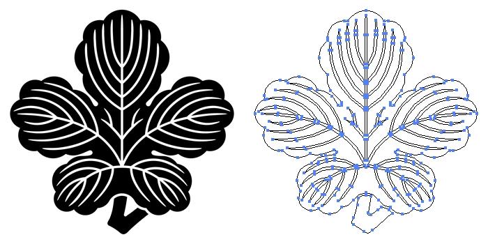 家紋・変わり立ち梶の葉のプレビュー画像とパス画像