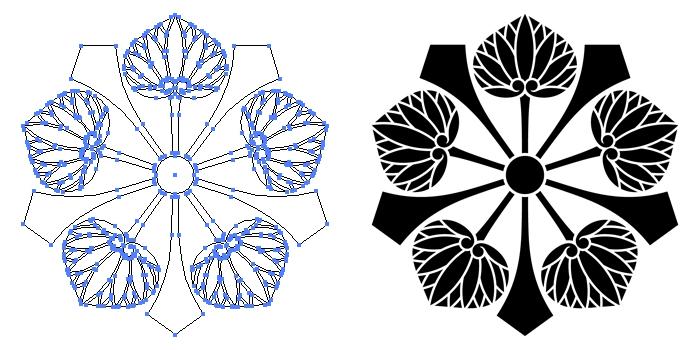家紋・剣五つ葵のプレビュー画像とパス画像