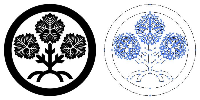 家紋・丸に諏訪梶の葉のプレビュー画像とパス画像