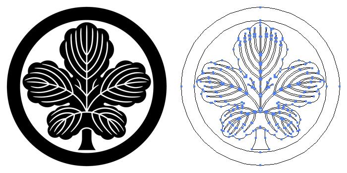 家紋・丸に立ち梶の葉のプレビュー画像とパス画像