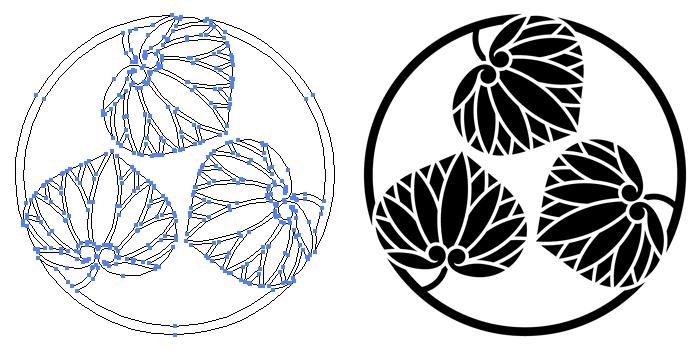 家紋・三つ葵の丸のプレビュー画像とパス画像