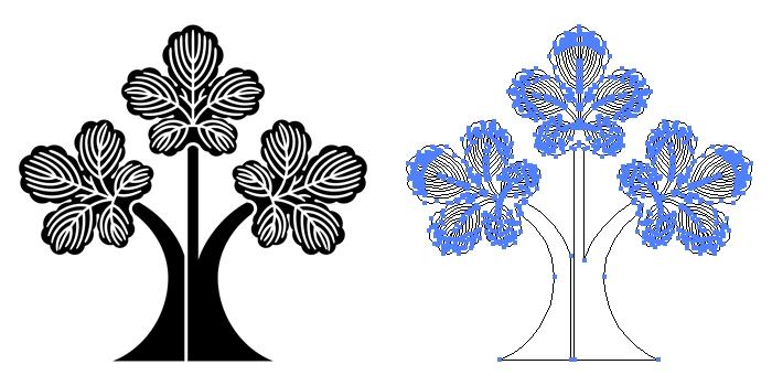 家紋・三つ立ち梶の葉のプレビュー画像とパス画像