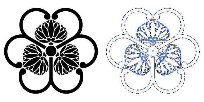 家紋・三つ蔓葵に片喰のプレビュー画像とパス画像