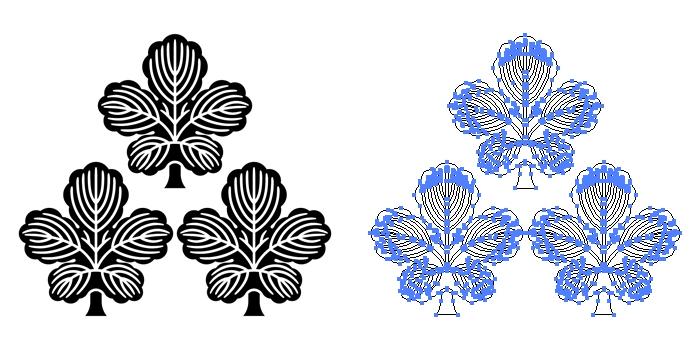 家紋・三つ森梶の葉のプレビュー画像とパス画像