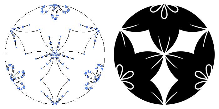 家紋・三つ割り花鉄線のプレビュー画像とパス画像