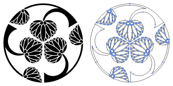 家紋・三つ割り立ち葵のプレビュー画像とパス画像